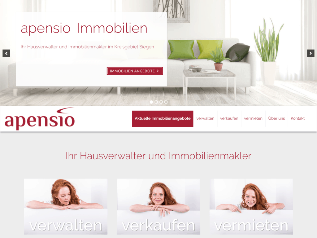 Bild der apensio Homepage